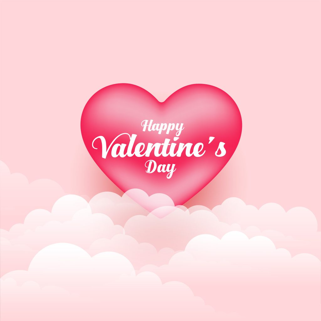 realistic valentines day 3d heart and clouds background