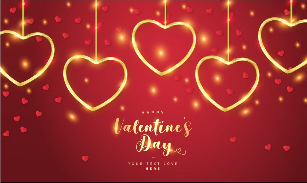 Typography Glittering Red Background Happy Valentine's Day