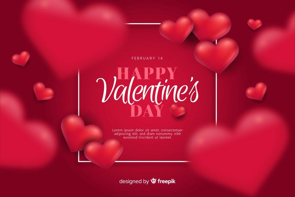 Typography Red Heart Happy Valentine's Day