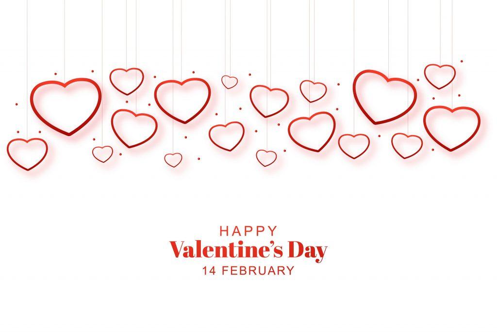 Flying Heart white Background Happy Valentine's Day