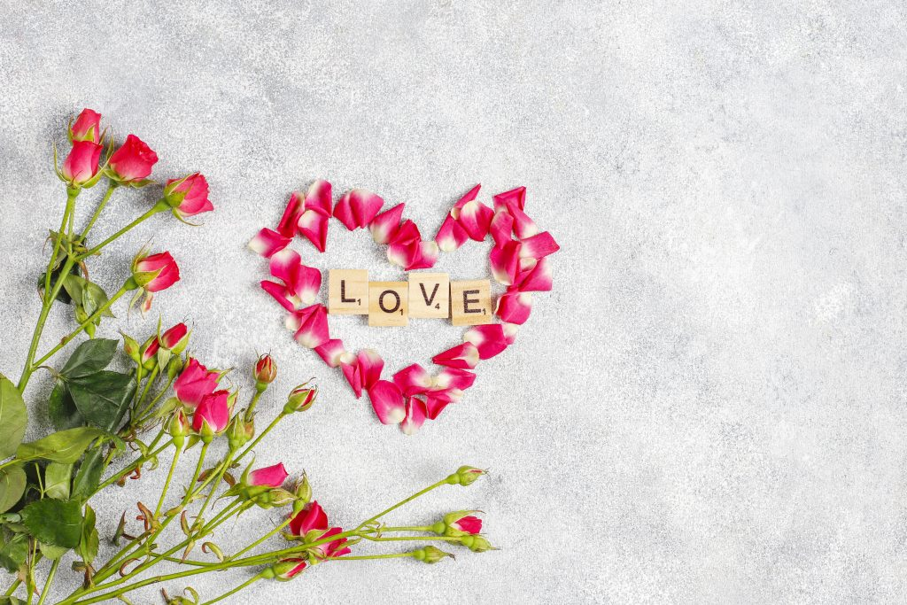Valentine's day greeting card with rose flowers.