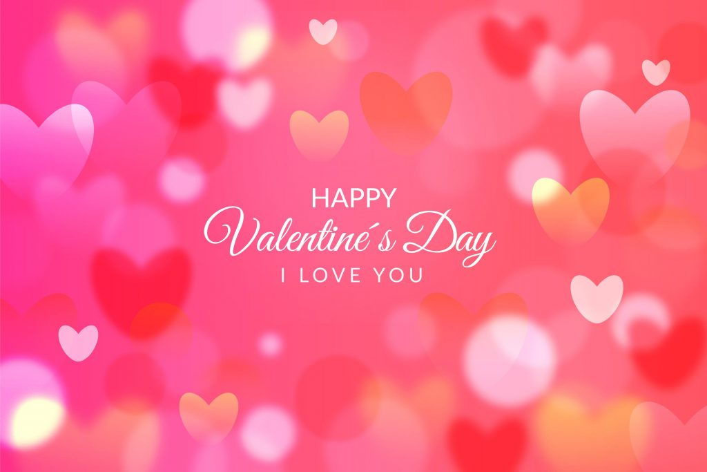 Typography Pink Background Happy Valentine's Day I Love You card